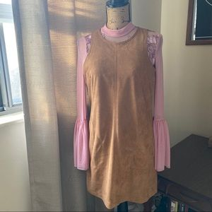 Camel Faux Suede Dress Size Small